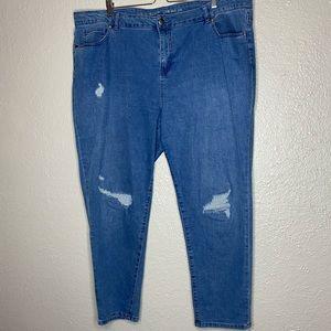 Avenue Denim Distressed Girlfriend Skinny Jeans